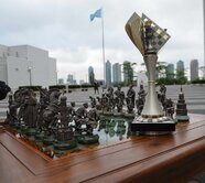The Marches on Bosporan unique chess set and the champion's FIDЕ Grand Prix Cup