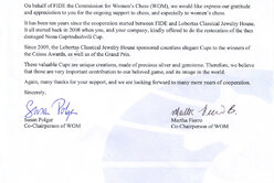 Letter of thanks from Susan Polgar chairing the Commission for Women's Chess