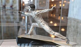 Dynamic sculpture of Fencing from the collection of the 21st Century Sports in Sculpture, Independence Palace, Minsk.