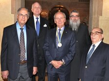 in the center - the president of the Ukrainian Canadian Congress, the president of Northland Power, Sоftсhоiсe Corporation - James Temerty; to the right of him – the businessman, billionaire, Ronald Lauder; on the left side of him – Yaakov Dov Bleich, Chief Rabbi of Kiev and all of Ukraine, the President of the Rabbis' Council of the Jewish Confederation of Ukraine.