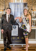 "Miss USA 2015 Celine Pelofi with a world record Guinness ring ""Tsarevna Swan"" and Igor Lobortas"