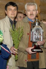 "Sergei Doroshenko, the creator of the first ""Unquenchable"" vigil lamp and Igor Lobortas"