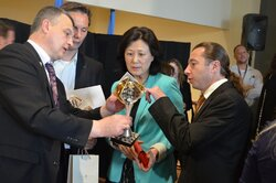 3. Presentation of FIDE Grand Prix chess cup to Hua Jiang, Officer-in-Charge of the Department of Public Information