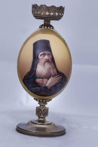 Egg Lamp by the company of Carl Faberge, jewelry vendor of the Imperial Court, with the inscription: Venerable Sergius Of Radonezh